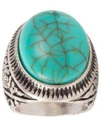Susan Caplan Faux Turquoise Statement Ring - Metallic
