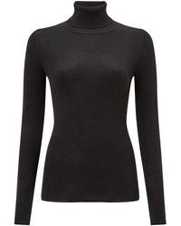 Jigsaw Silk Cotton Polo Neck Jumper - Black