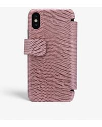 The Case Factory Iphone Xr Card Case Lizard Rosa Antico - Pink