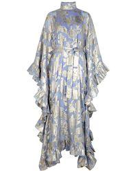 Taller Marmo Eccentrica Floral-jacquard Silk-blend Gown - Blue