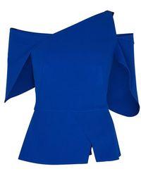 Roland Mouret Scott Royal Blue Off-the-shoulder Top