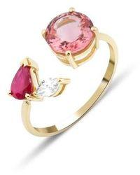 GFG Jewellery by Nilufer - Artisia Pink Leaf Ring - Lyst