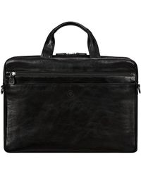 Maxwell Scott Bags Mens Finest Black Leather Laptop Bag With Trolley Sleeve