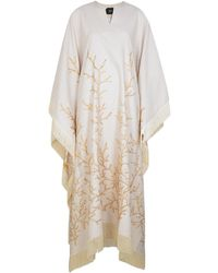Taller Marmo Los Corales Fringe-trimmed Jacquard Gown - Natural