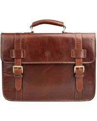 Maxwell Scott Bags Men S Italian Crafted Tan Leather Backpack Briefcase - Brown