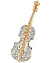 Susan Caplan 1960s Vintage Attwood Sawyer Violin Brooch - Metallic