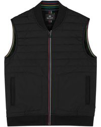 PS by Paul Smith Black Quilted Shell And Jersey Gilet