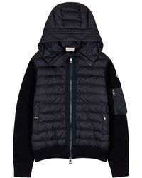 Moncler Tricot Navy Shell And Wool-blend Jacket - Blue