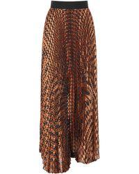 Alice + Olivia Katz Pleated Maxi Skirt - Brown