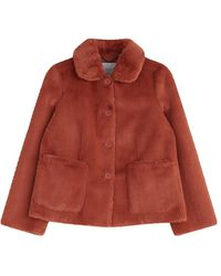 Jigsaw Faux Fur Box Coat - Red