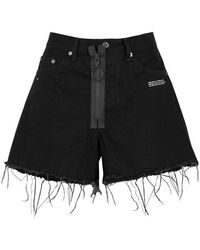 Off-White c/o Virgil Abloh - Black Appliquéd Denim Shorts - Lyst