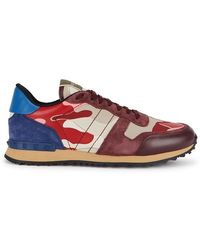 Valentino - Runner Camouflage-print Suede Sneakers - Lyst