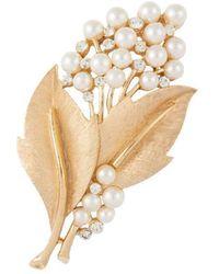 Susan Caplan 1960s Vintage Trifari Faux Pearl Leaf Brooch - White