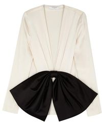 Givenchy - Ivory Bow-appliqué Crepe Blouse - Lyst