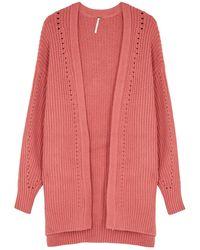 Free People Nightingale Pink Chunky-knit Cardigan