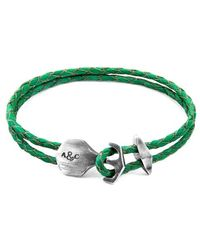Anchor & Crew Fern Green Delta Anchor Silver & Flat Leather Bracelet