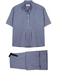 The Sleep Shirt Navy Brushed Cotton Pyjama Set - Blue
