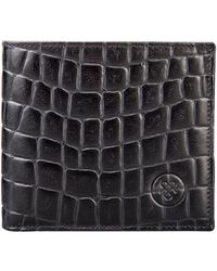 Maxwell Scott Bags Mens Highend Black Croc Print Leather Wallet With Coin Holder