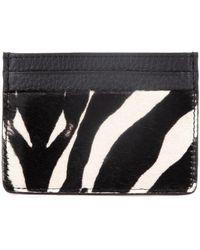 Esin Akan Grace Zebra Print Leather Card Case - Black