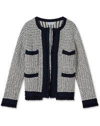Jigsaw Boucle Tweed Crew Jacket - Blue