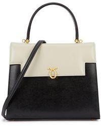 Launer Traviata Black Leather Top Handle Bag