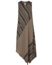 Donna Karan - Striped Asymmetric Dress - Lyst