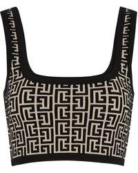Balmain Monogrammed Stretch-knit Bra Top - Black