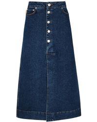 Ganni Dark Blue Stretch-denim Midi Skirt