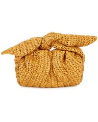 Rejina Pyo Nane Brown Raffia Clutch