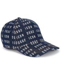 DSquared² Men's Icon Dsq2 Printed Denim Baseball Cap - Blue
