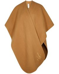 JW Anderson Camel Logo-embroidered Wool Cape - Natural