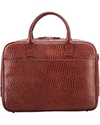 Maxwell Scott Bags Men S Faux Crocodile Leather Soft Briefcase In Tan - Red
