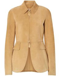 Burberry - Monogram Motif Suede Riding Jacket - Lyst