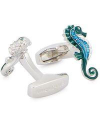 Simon Carter Silver-tone Seahorse Cufflinks - Blue