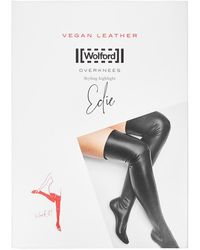 Wolford Edie Black Faux Leather Over-the-knee Socks