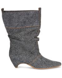 Stella McCartney | Dark Grey Slouched Denim Ankle Boots | Lyst