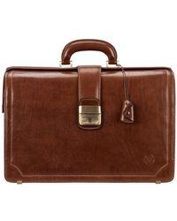 Maxwell Scott Bags Tan Men's Briefcase In Brown