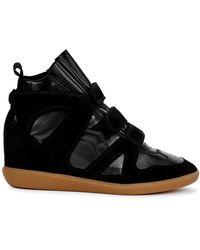 Isabel Marant Buckee 90 Black Leather Wedge Trainers