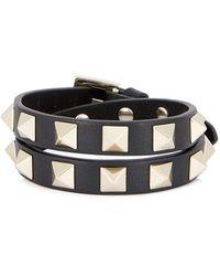 Valentino - Rockstud Black Leather Wrap Bracelet - Lyst