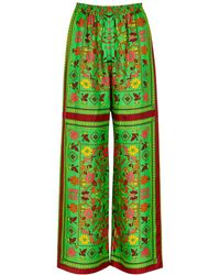 Tory Burch Scarf-print Wide-leg Silk Pants - Green
