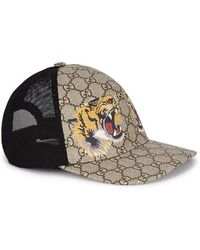 567b2e59a6174d Gucci Supreme Tiger-print Monogrammed Cap in Natural for Men - Lyst