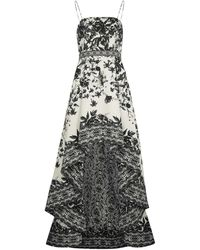 Alice + Olivia Florence Floral-print Stretch-cotton Gown - Black