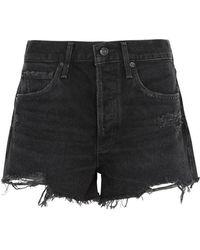 Agolde - Parker Distressed Denim Shorts - Lyst
