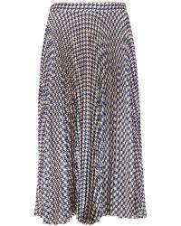 Birgitte Herskind Nussa Houndstooth-print Pleated Midi Skirt - Blue