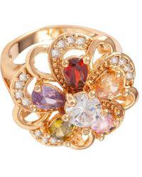 Susan Caplan Floral Embellished Ring - Metallic