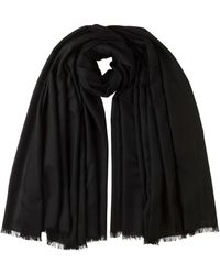 Johnstons Black Tissue Cashmere Blanket Scarf