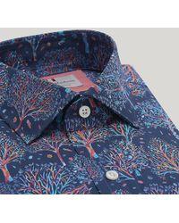 Harvie & Hudson Liberty Tree Scene Cotton Shirt - Blue
