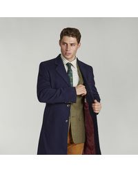 Harvie & Hudson Navy Wool And Cashmere Coat - Blue