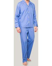 Harvie & Hudson - Classic Pacific Blue Cotton Pyjamas - Lyst