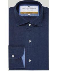 Harvie & Hudson Navy Linen Casual Shirt - Blue
